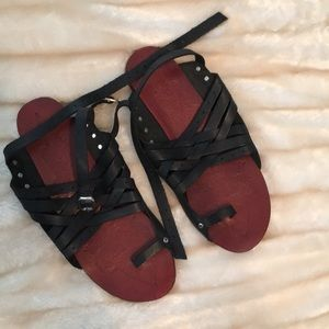 Free people black leather sandals